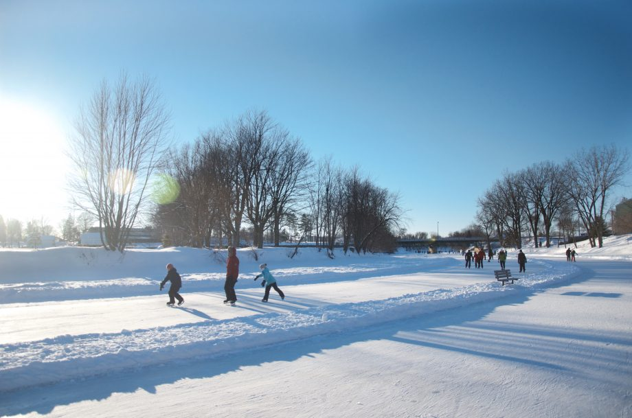 Skating corridor on L'Assomption River. Credit: tourismejoliette.com.